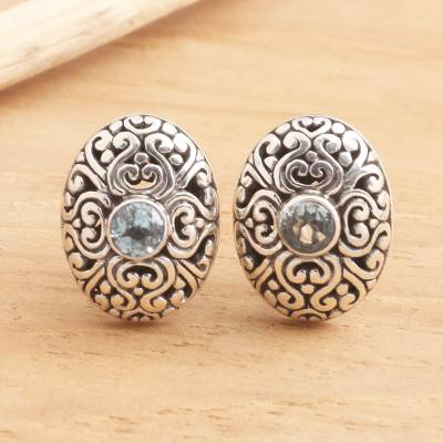 Blue topaz button earrings, 'Traditional Charm' - Oval Button Earrings in Sterling Silver with Blue Topaz