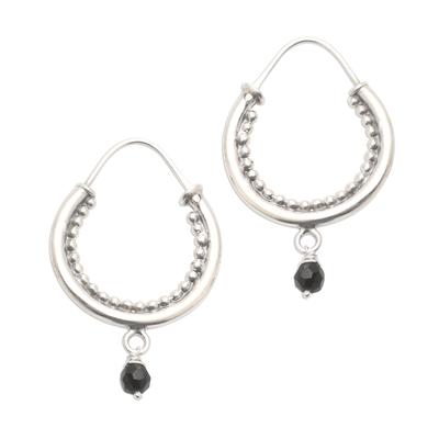 Onyx Accented Sterling Silver Hoop Earrings