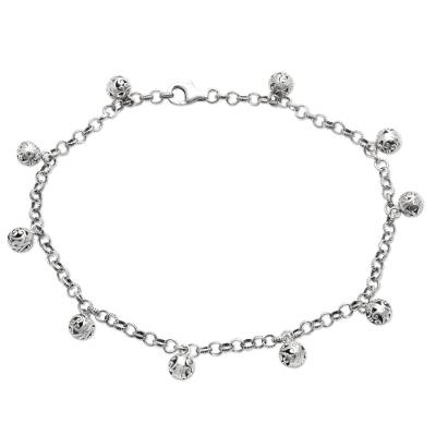 Artisan Crafted Sterling Silver Charm Anklet