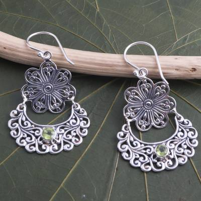 Peridot dangle earrings, 'August Shower' - Peridot Sterling Silver Flower Dangle Earrings