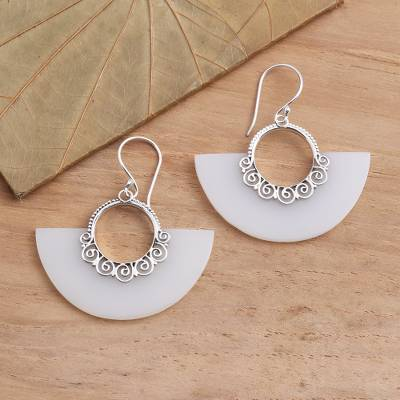 Sterling silver dangle earrings, 'Celuk Semicircles' - Balinese Style Sterling Silver Dangle Earrings
