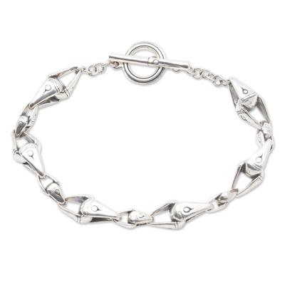 Sterling silver link bracelet, 'Bamboo Connection' - Bamboo Motif Sterling Silver Link Bracelet