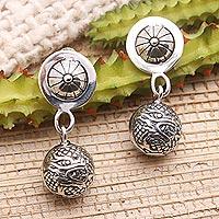 Sterling silver dangle earrings, 'Dragon Ball' - Dragon Motif Sterling Silver Dangle Earrings