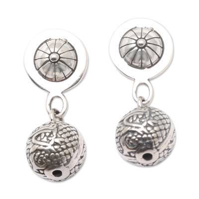 Sterling silver dangle earrings, 'Dragon Ball' - Dragon Motif Sterling Silver Dangle Earrings