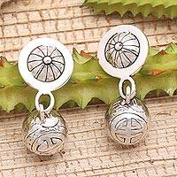 Sterling silver dangle earrings, 'Longevity Ball' - Sterling Silver Post Earrings from Bali