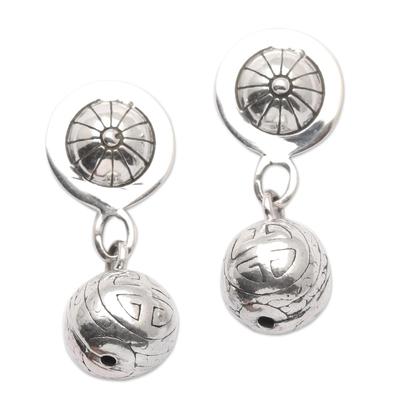 Sterling silver dangle earrings, 'Longevity Ball' - Sterling Silver Post Earrings from Bali