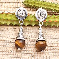 Tiger's eye dangle earrings, 'Bali Bagatelle' - Tiger's Eye Dangle Earrings from Bali