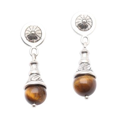 Tiger's eye dangle earrings, 'Bali Bagatelle' - Tiger's Eye Dangle Earrings from Bali