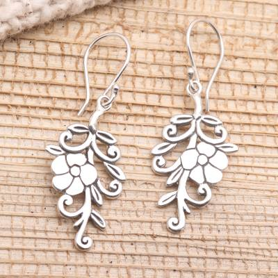 Sterling silver dangle earrings, 'Trailing Blossom' - Trailing Flower Sterling Silver Dangle Earrings