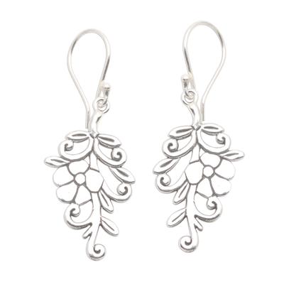 Sterling silver dangle earrings, 'Trailing Blossom' - Trailing Flower Sterling Silver Dangle Earrings