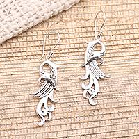 Sterling silver dangle earrings, 'Mythical Bird' - Mythical Bird Sterling Silver Dangle Earrings