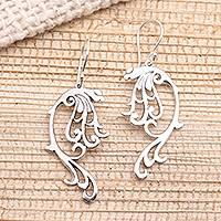 Sterling silver dangle earrings, 'Leafy Arabesque' - Art Nouveau Style Sterling Silver Earrings