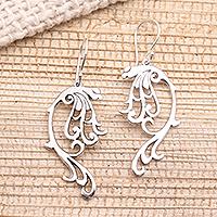 Sterling silver dangle earrings, 'Leafy Arabesque' - Art Nouveau Style Sterling Silver Earrings