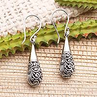Sterling silver dangle earrings, 'Enchanting Bali' - Ornate Sterling SiIver Dangle Earrings