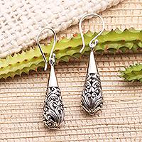 Sterling silver dangle earrings, 'Baroque Bower' - Ornate Sterling Silver Dangle Earrings
