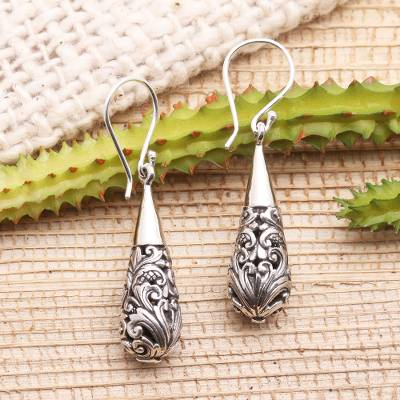 Sterling silver dangle earrings, 'Baroque Bower' - Ornate Sterling Silver Dangle Earrings