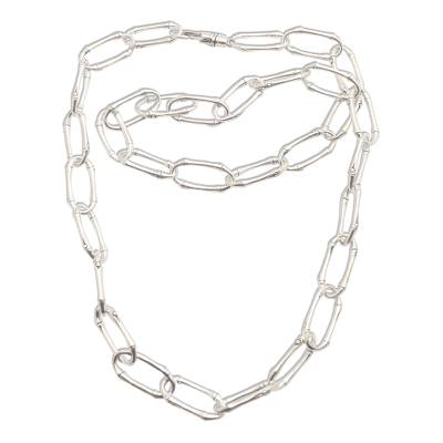 Sterling silver link necklace, 'Bamboo Chain' - Bamboo Motif Link Necklace in Sterling Silver