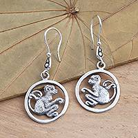 Sterling silver dangle earrings, 'Coy Monkey' - Sterling Silver Monkey Dangle Earrings
