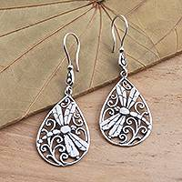 Sterling silver dangle earrings, 'Dragonfly Breeze' - Dragonfly Sterling Silver Earrings from Bali