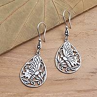 Sterling silver dangle earrings, 'Butterfly Breeze' - Handmade Silver Butterfly Dangle Earrings