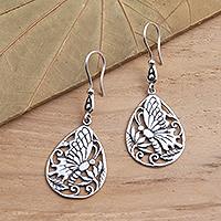 Sterling silver dangle earrings, 'Butterfly Breeze' - Handmade Silver Butterfly Dangle Earrings