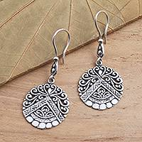 Sterling silver dangle earrings, 'Agung Peak' - Hand Crafted Sterling Silver Dangle Earrings