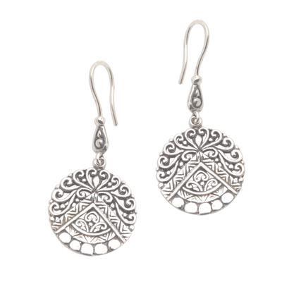Sterling silver dangle earrings, 'Agung Peak' - Hand Crafted Sterling Silver Dangle Earrings