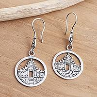 Sterling silver dangle earrings, 'Bali Pura' - Temple Motif Sterling Silver Dangle Earrings