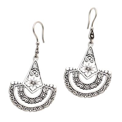 Sterling silver dangle earrings, 'Sacred Blossom' - Balinese Style Sterling Silver Dangle Earrings