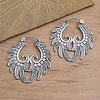 Sterling silver hoop earrings, 'Feathered Crown' - Hand Crafted Sterling Silver Hoop Earrings