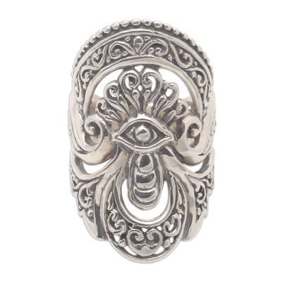 Sterling silver cocktail ring, 'Watching Eye' - Unique Sterling Silver Cocktail Ring from Bali