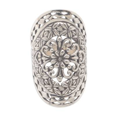 Sterling silver cocktail ring, 'Basket of Blooms' - Sterling Silver Flower Ring