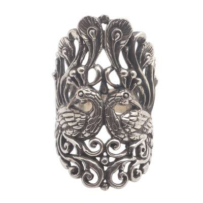 Sterling silver cocktail ring, 'Peacock Romance' - Peacock Ring in Sterling Silver