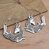 Sterling silver half-hoop earrings, 'Flying Reindeer' - Half Hoop Flying Reindeer Earrings