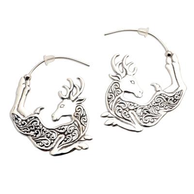Sterling silver half-hoop earrings, 'Flying Reindeer' - Half Hoop Flying Reindeer Earrings