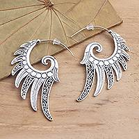 Sterling silver half-hoop earrings, 'Feathered Garland' - Feather Motif Sterling Silver Half-Hoop Earrings