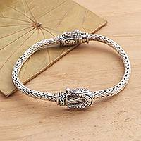 Sterling silver braided bracelet, 'Buckle Down'