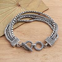 Sterling silver braided bracelet, 'Byzantine Chain' - Hand Crafted Sterling Silver Byzantine Chain Bracelet