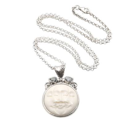 Blue topaz pendant necklace, 'Three Moon Faces' - Moon Phase Faces Blue Topaz Pendant Necklace
