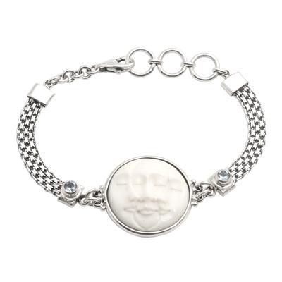 Blue topaz pendant bracelet, 'Three Moon Faces' - Blue Topaz and Sterling Silver Pendant Bracelet