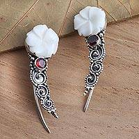 Garnet ear climber earrings, 'White Jepun' - Sterling Silver and Garnet Climber Earrings