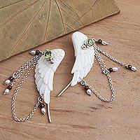 Multi-gemstone ear climber earrings, 'Taking Wing' - Wing Ear Climbers with Peridot and Garnet