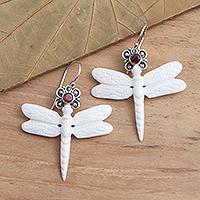 Garnet dangle earrings, 'Dragonfly Crown' - Dragonfly Dangle Earrings with Garnet