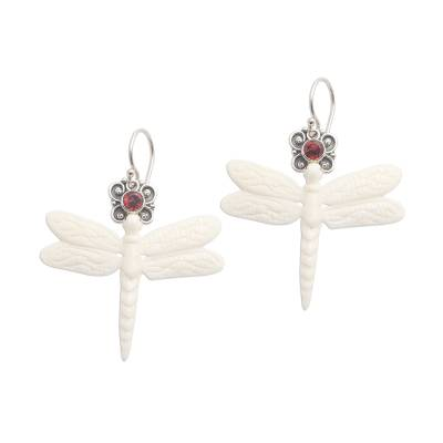 Garnet dangle earrings, 'Dragonfly Crown' - Dragonfly Dangle Earrings with Garnet