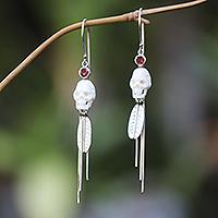 Garnet dangle earrings, 'Skull Talisman' - Long Garnet Dangle Earrings with Skull Motif