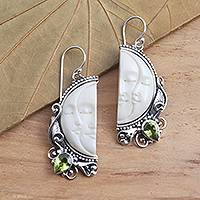 Peridot dangle earrings, 'Cheek to Cheek' - Peridot and Sterling Silver Moon Dangle Earrings