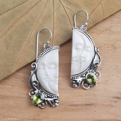 Peridot dangle earrings, Cheek to Cheek