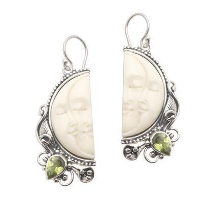 Peridot dangle earrings, 'Cheek to Cheek' - Peridot and Sterling Silver Moon Dangle Earrings