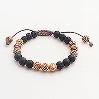 Beaded unity bracelet, 'Chakra Unity' - Balinese Chakra Lava Stone Beaded Unity Bracelet