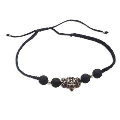 Sterling silver unity bracelet, 'Barong in Unity' - Handmade Black Lava Stone and Sterling Silver Unity Bracelet